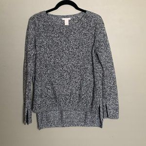 H&M grey speckled high low split sleeve sweater